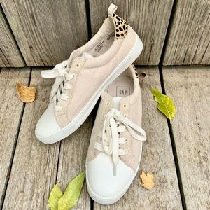 Gap Lace Up Faux Suede Animal Print Sneakers
